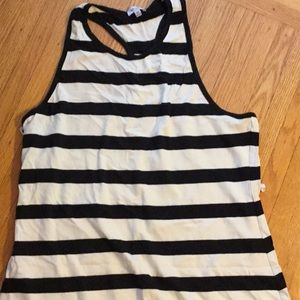 Splendid black white striped sleeveless tank XL